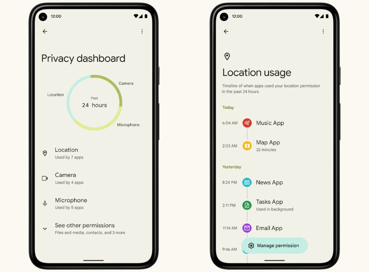 versiones de android android 12 panel de privacidad