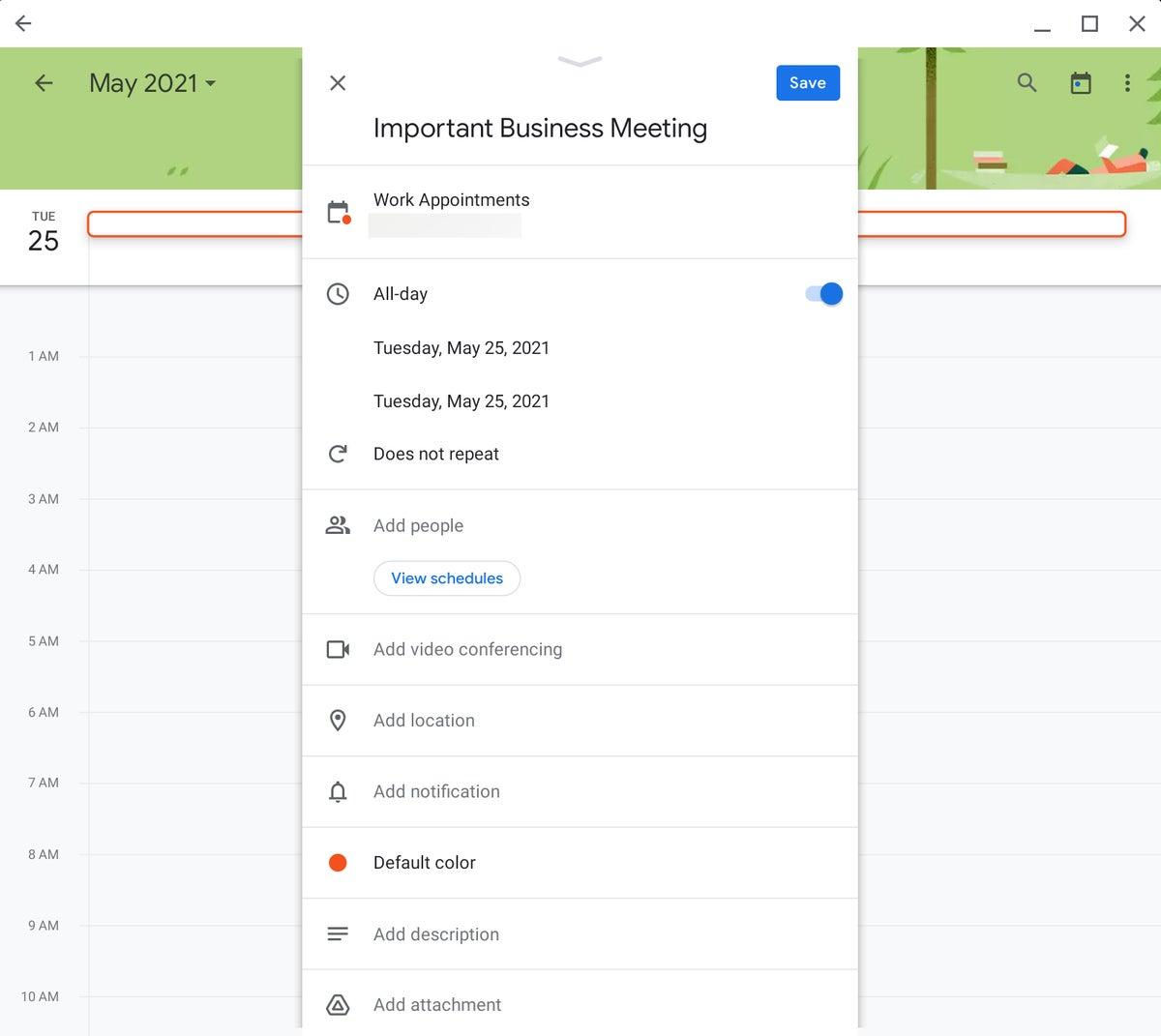 Chromebook sin conexión Google Calendar aplicación para Android