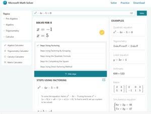 microsoft math solver site