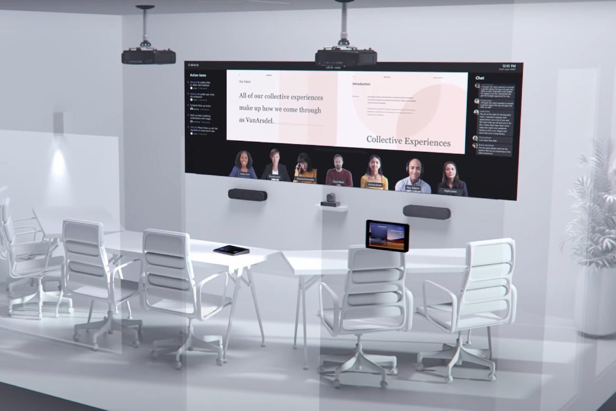 Microsoft sees a future office with lifesize screens, rotating cameras