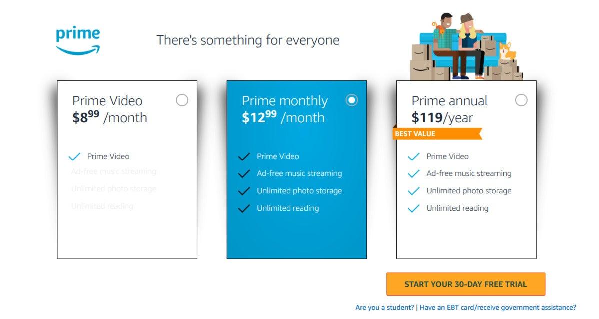 صفحه ثبت نام Amazon Prime