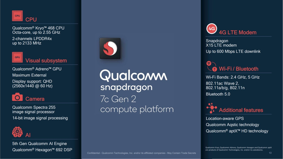 qualcomm snapdragon 7c gen 2 features