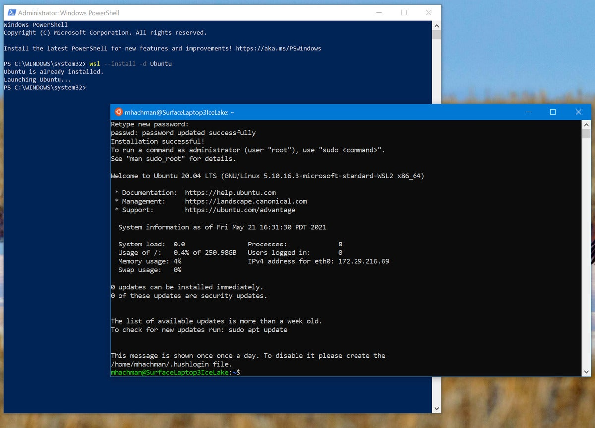 زیر سیستم مایکروسافت ویندوز برای نصب لینوکس wsl wsl ubuntu 3