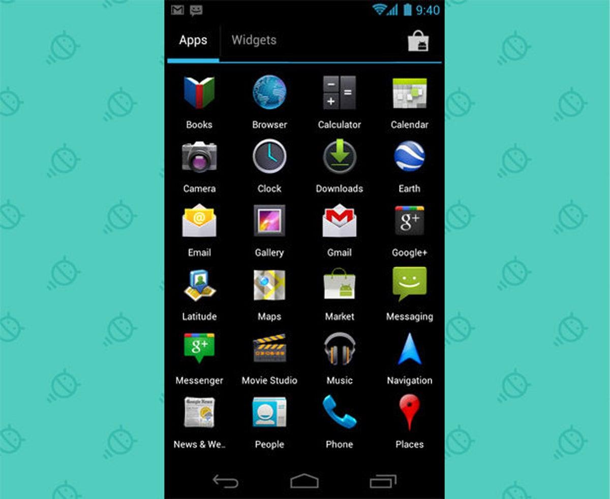 Cajón de aplicaciones de widgets de Android