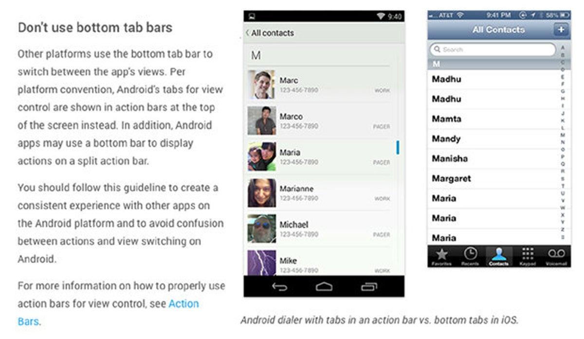 Barras de la pestaña inferior de Google Android