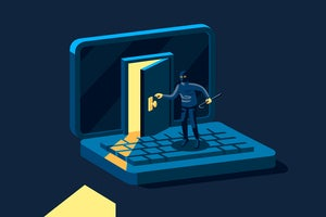 Security threat [illustration]  >  A hacker with black hat, mask, and crowbar breaks into a laptop.
