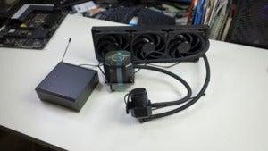 cooler master ML360 sub-zero AIO cooler on table
