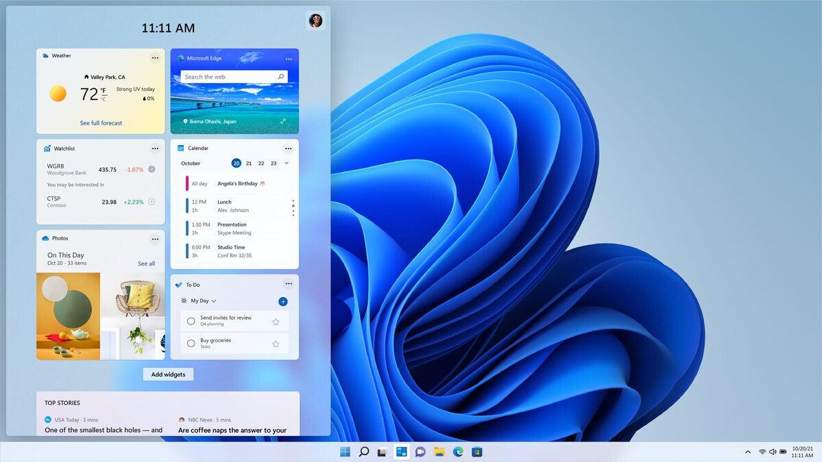 windows 11 widgets screen Microsoft