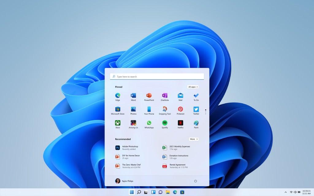 menú de inicio de promoción de windows11