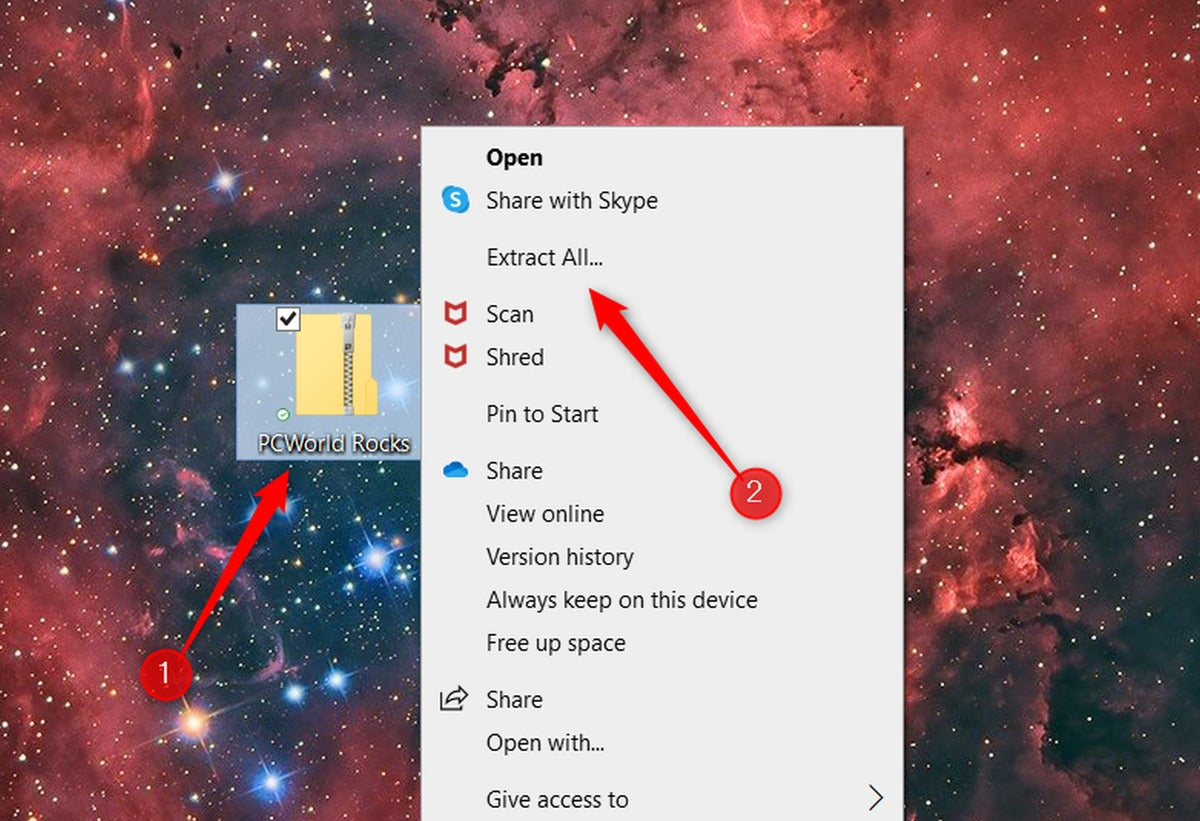 extract all button in context menu