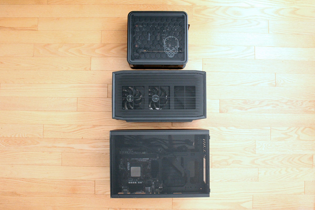 Size comparison between Ghost Canyon NUC, Beast Canyon NUC, and Meshlicious case