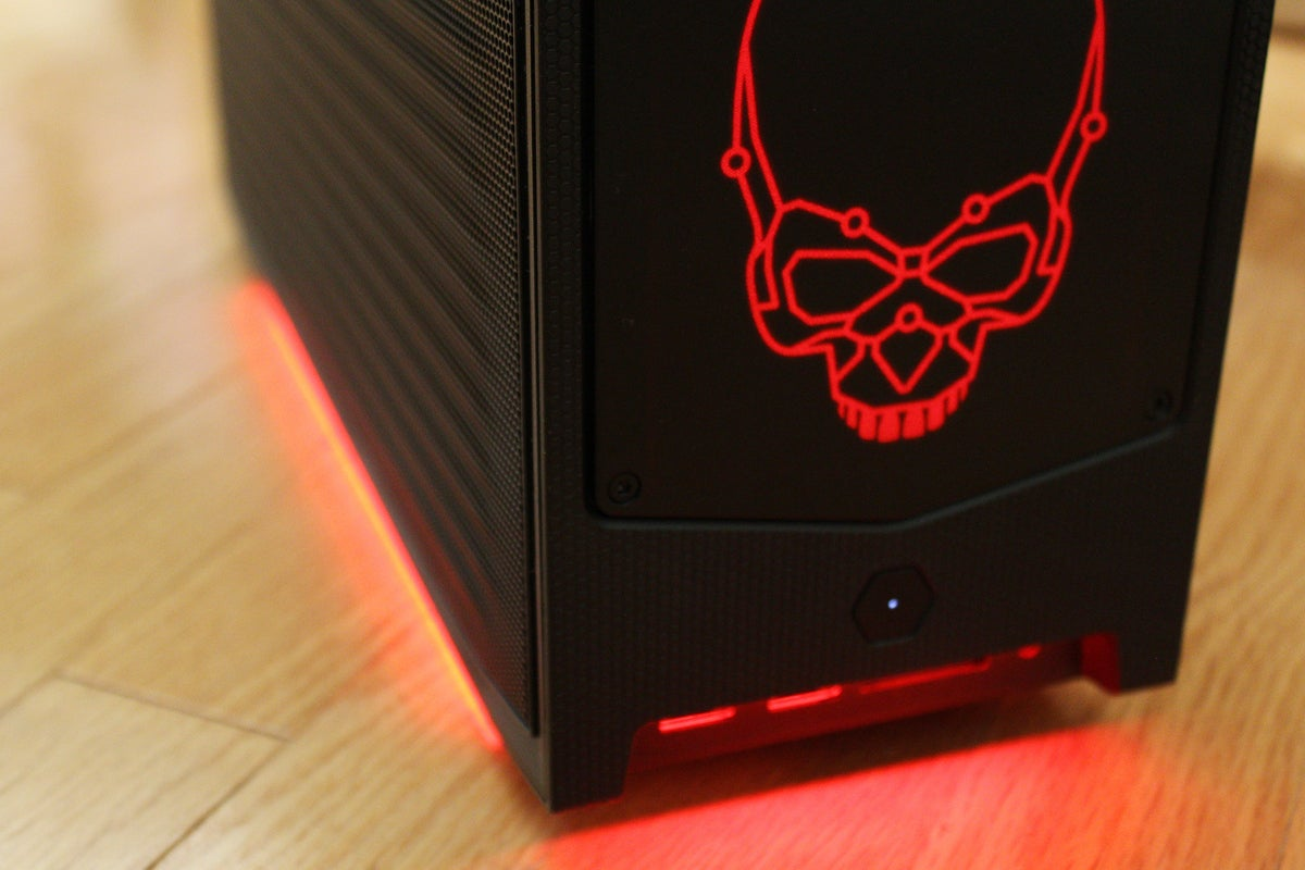 Close up of RGB on Beast Canyon NUC (red)