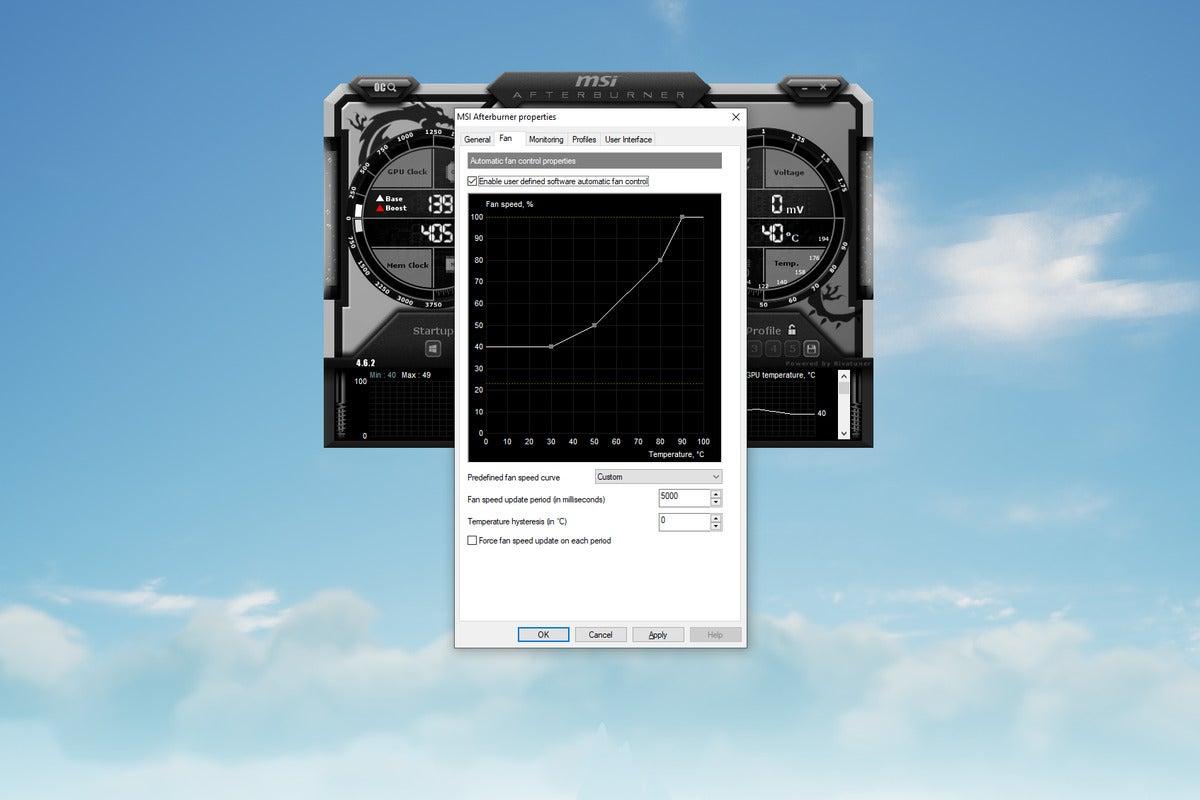 msi afterburner fan curve menu