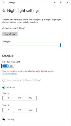 Night Light settings menu