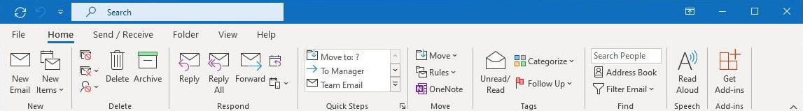 pestaña de inicio de cinta de Outlook microsoft365 01