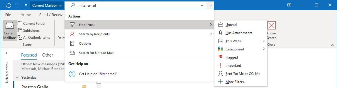 Outlook microsoft365 04 acciones de búsqueda