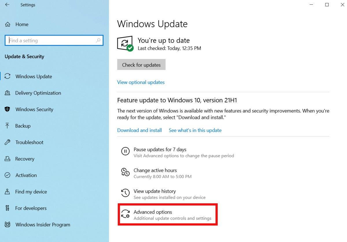 windowsupdateadvancedoptions