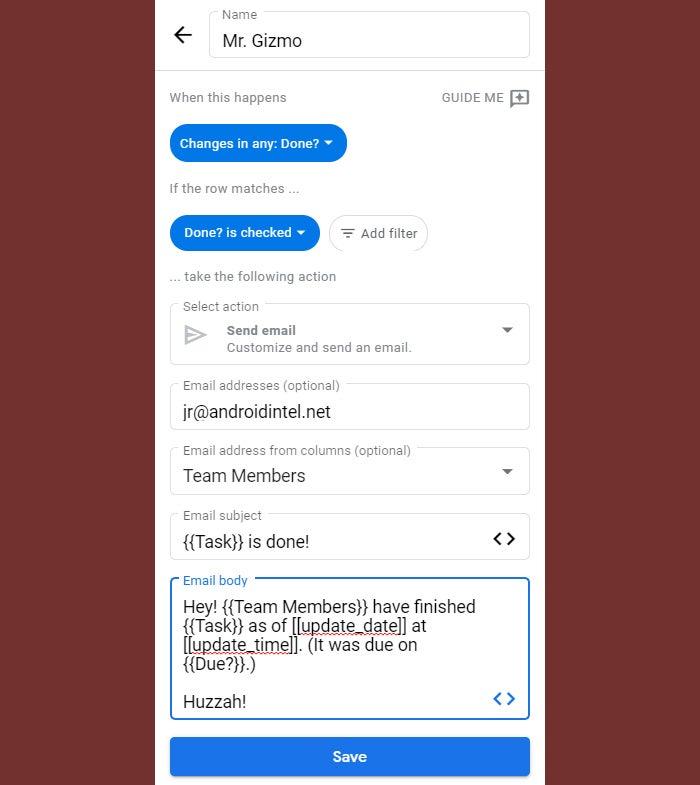11 correo electrónico de automatización de tablas de google