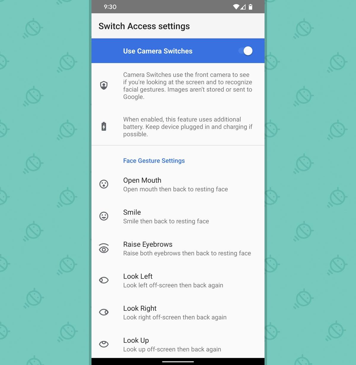 Opciones de gestos faciales de Android 12