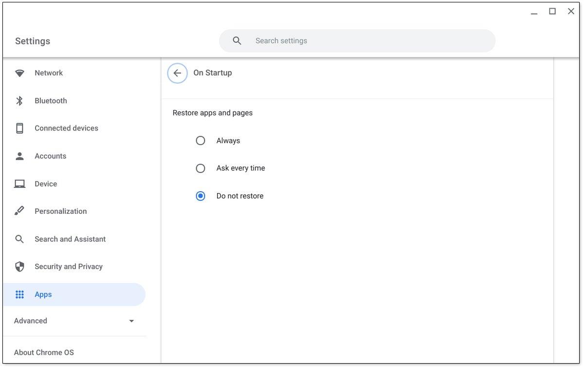 Característica de Chrome OS: Restaurar
