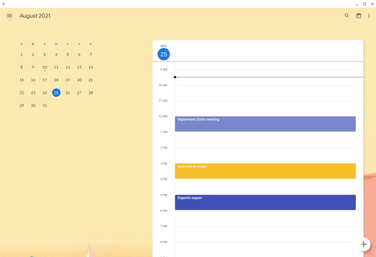Chrome OS Google Calendar aplicación para Android