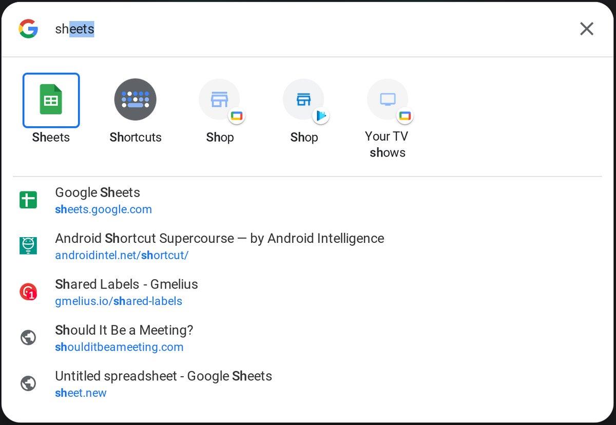 búsqueda del lanzador del sistema operativo Chrome 2021