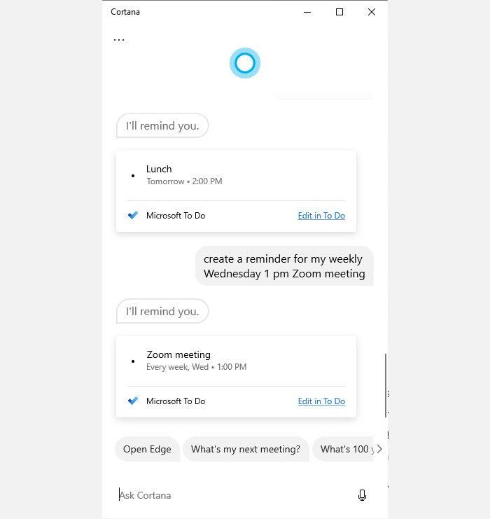 Cortana tips 3 recordatorio de zoom