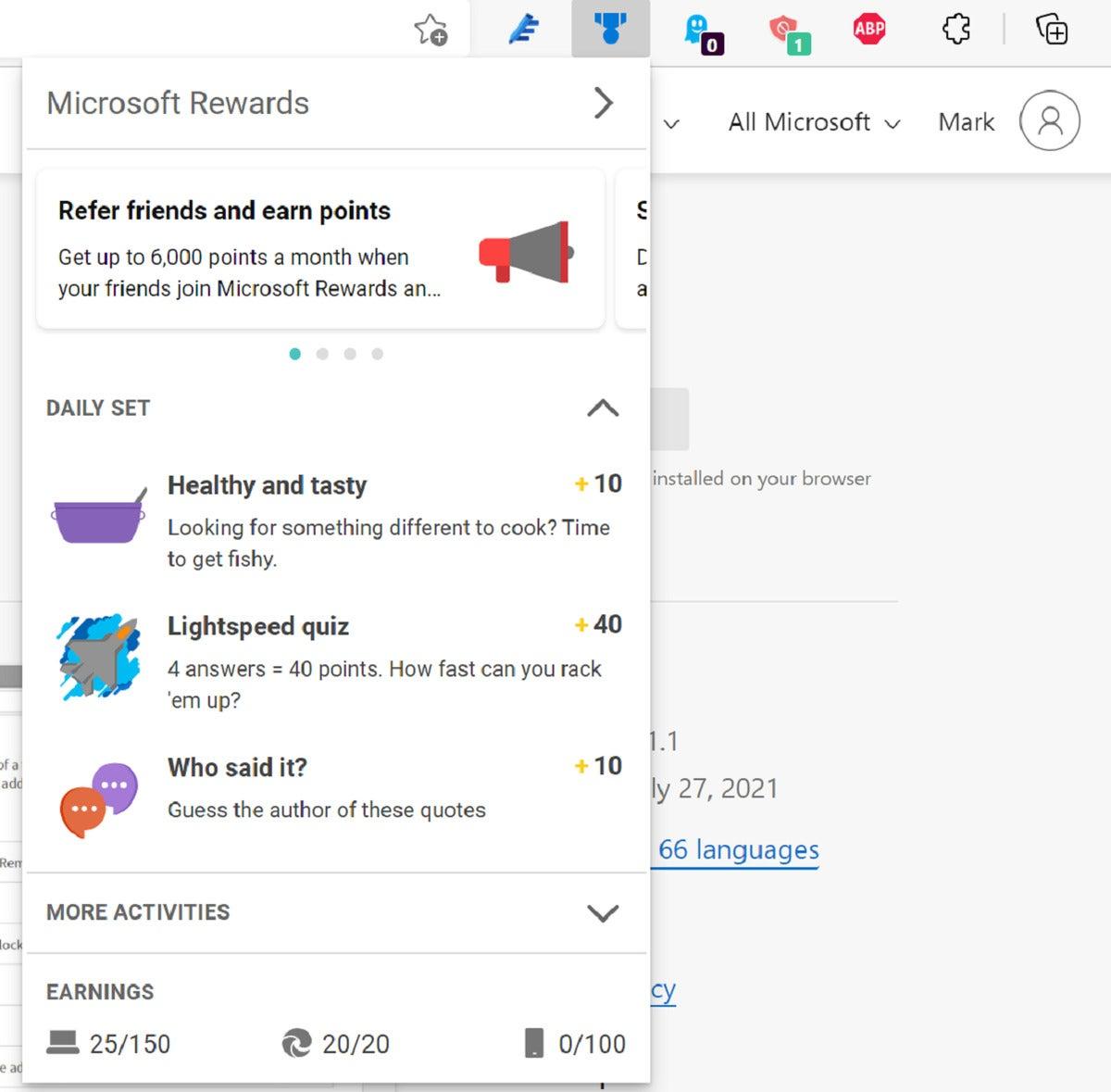 microsoft rewards edge plugins
