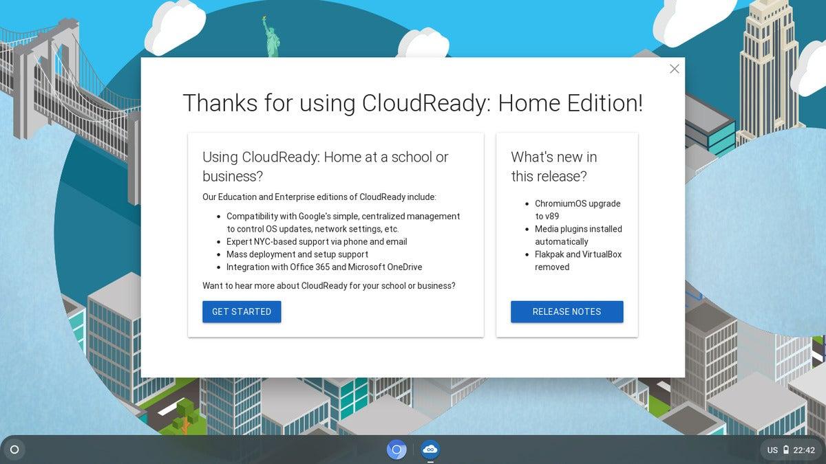 CloudReady v89 start screen