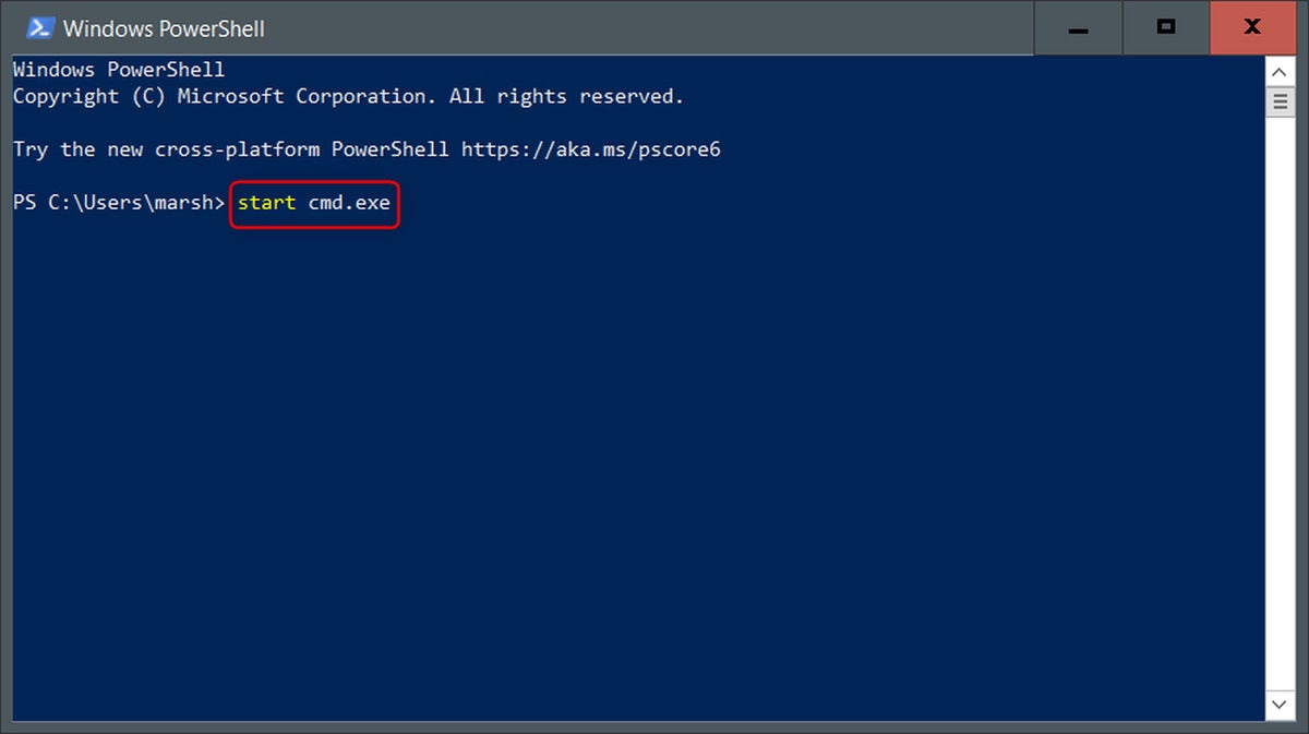 type the command in windows powershell to open command prompt
