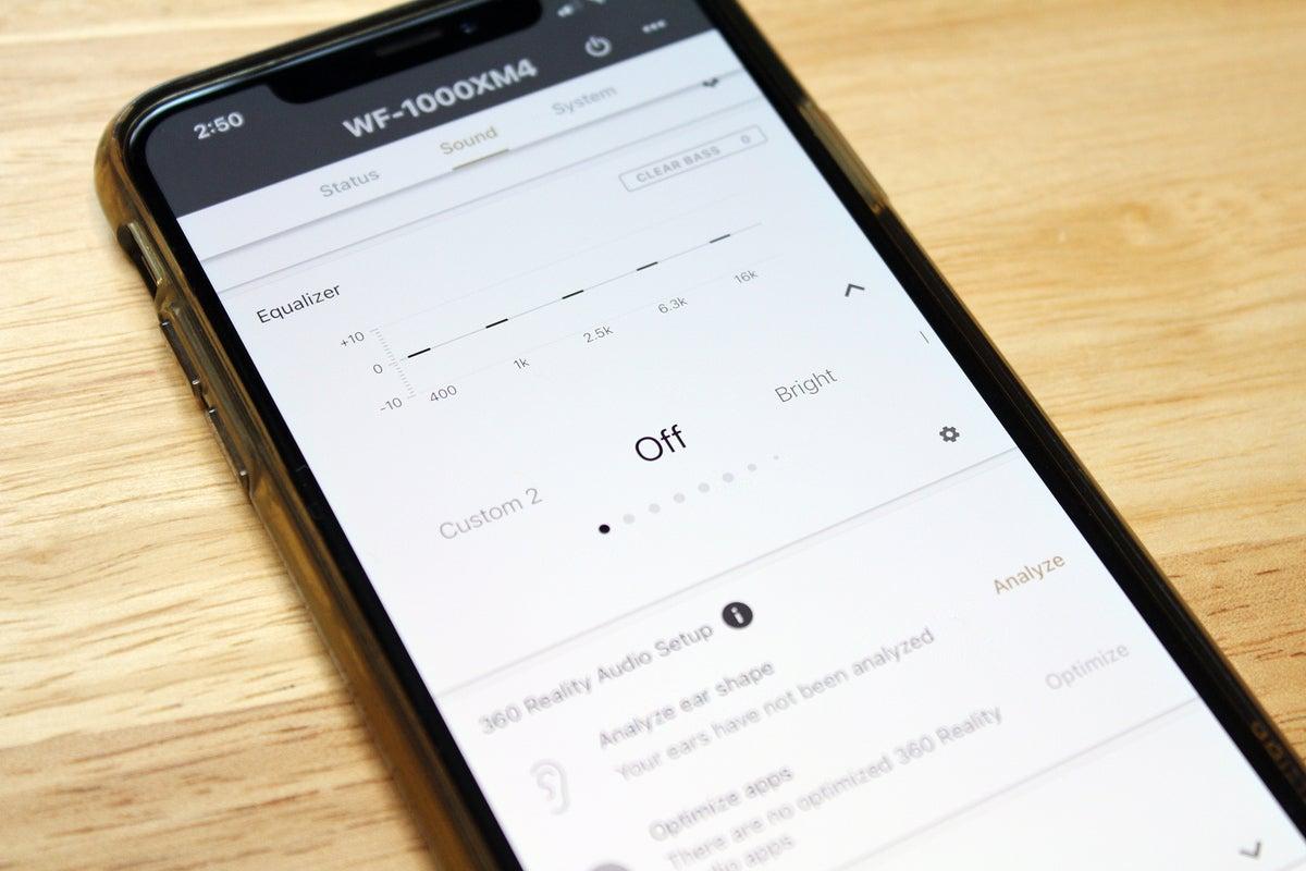 Sony WF-1000XM4 companion app EQ settings