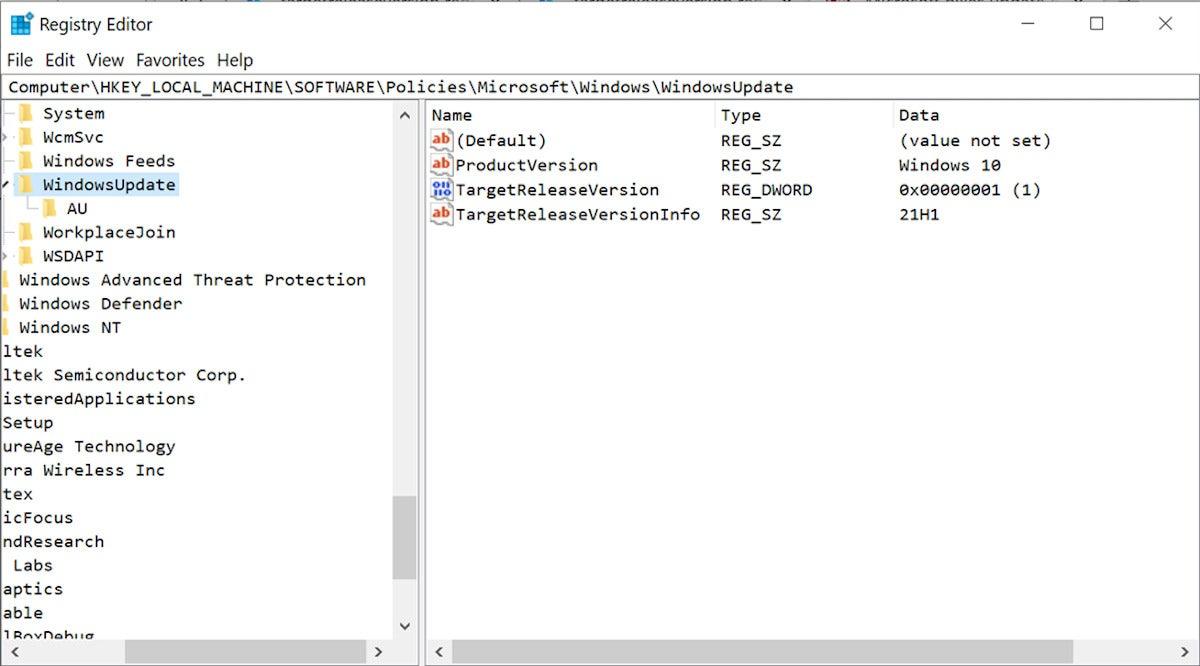 Windows registry settings