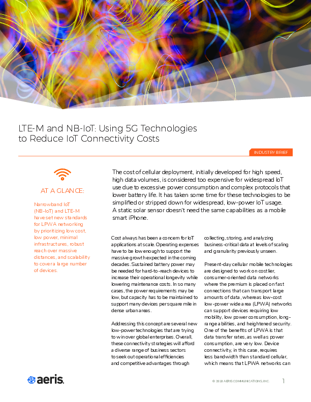 LTE-M and NB-IoT: Using 5G Technologies to Reduce IoT