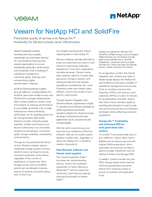 Veeam for NetApp HCI and SolidFire | CIO