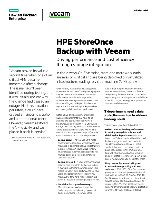 HPE StoreOnce Backup with Veeam | CIO