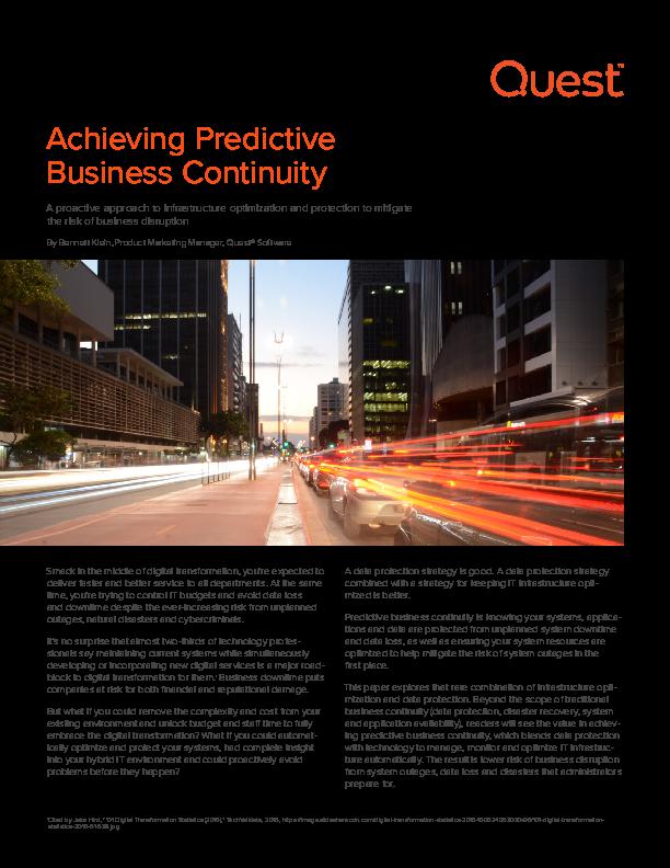 Achieving Predictive Business Continuity | CIO