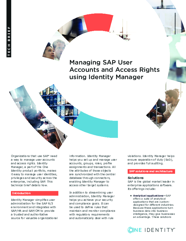 Managing SAP User Accounts and Access Rights using Identity