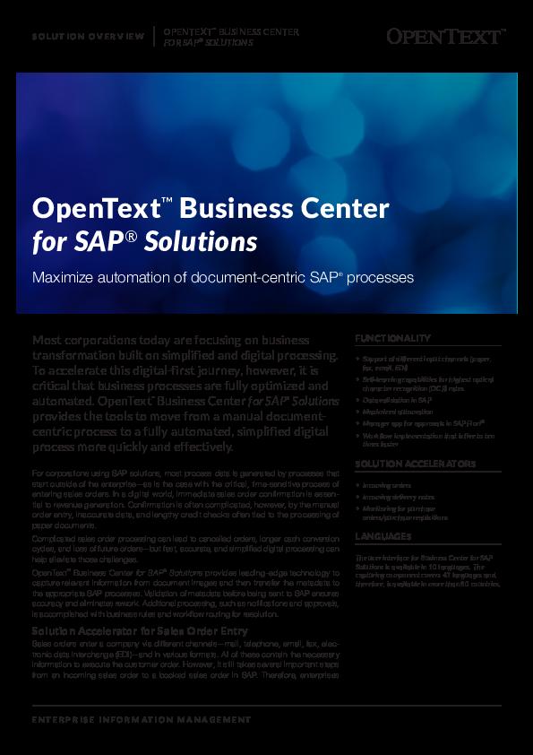 Business Center for SAP Solutions | Computerworld
