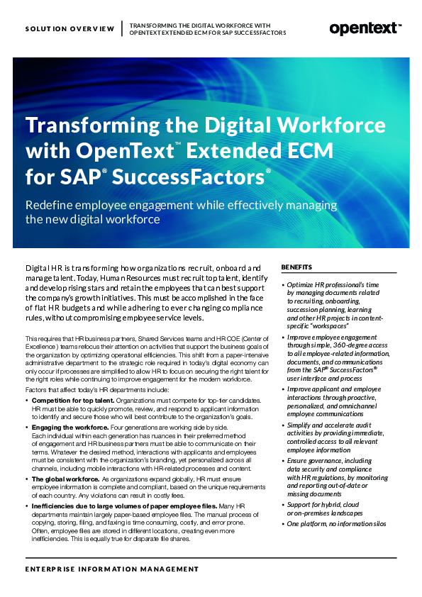 Transforming the Digital Workforce with OpenText TM Extended