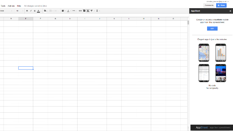 Create an app with Google Sheets