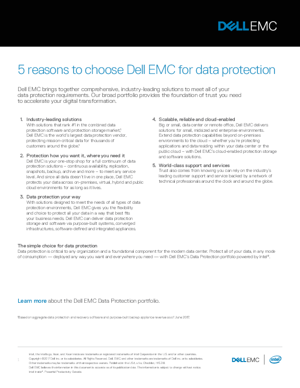 5 reasons to choose Dell EMC for data protection | Computerworld