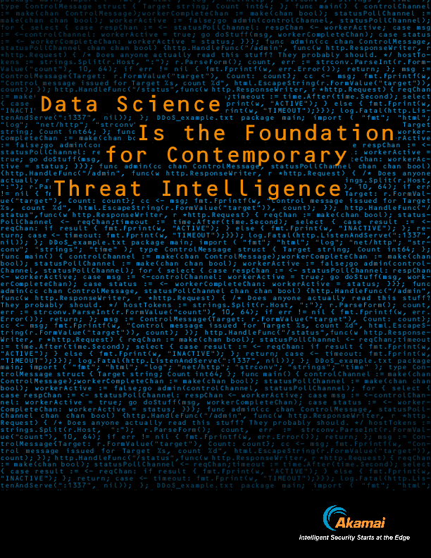 Data Science is the Foundation for Contemporary Threat