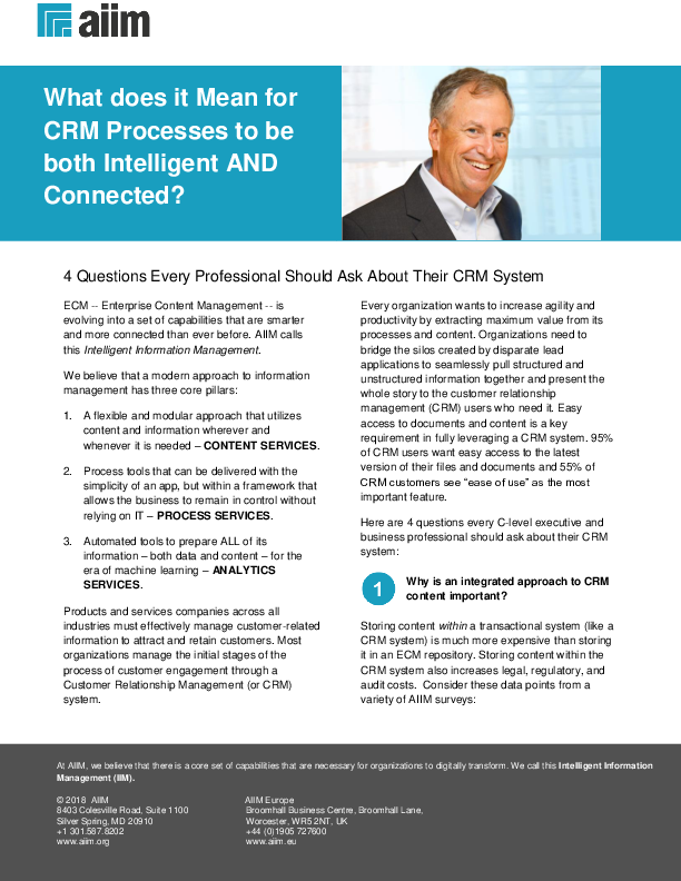 AIIM Tipsheet: 4 Questions Every Professional Should Ask About Their CRM System