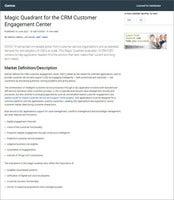 2021 Gartner Magic Quadrant for the CRM Customer Engagement Center